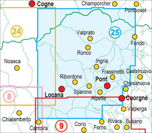 mappe escursionismo fraternali editore Quadro unione 25