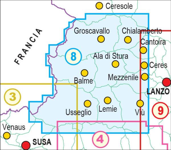 mappe escursionismo fraternali editore Quadro unione 8
