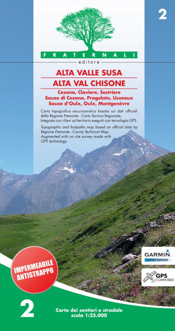 2 mappa escusrionismo Alta Valle Susa Alta Val Chisone impermeabile-antistrappo fraternali editore