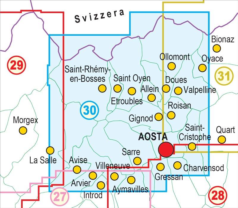 Cartina Stradale Valle D Aosta.30 Gran San Bernardo Valle Di Ollomont Mont Fallere Aosta Valle Centrale Fraternali Editore