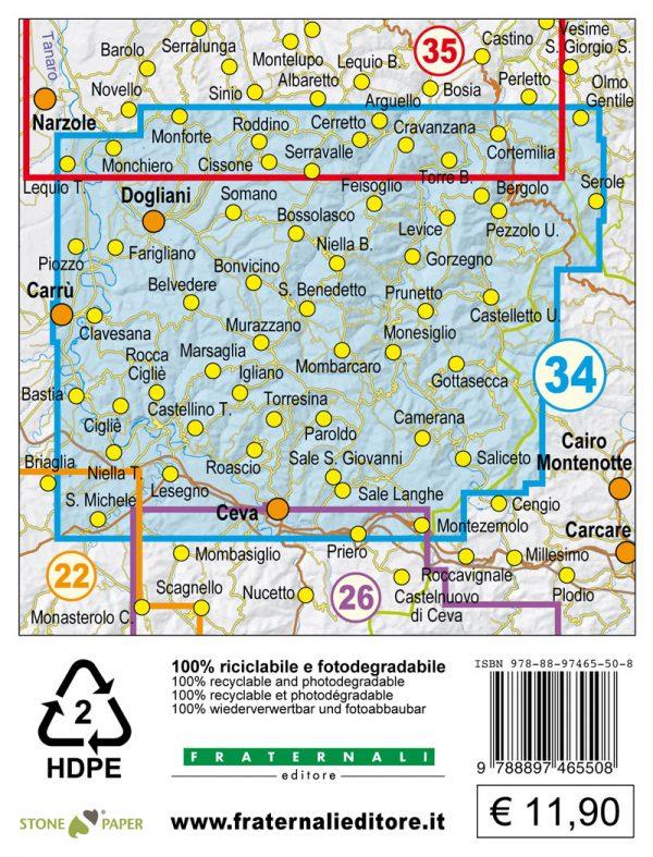 34 langhe sud copertina mappa escursionistica 25000 retro copertina